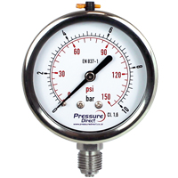 (GWD) All Stainless Steel Pressure Gauge (63mm Ø)