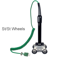 HK-850 - Hand-held Type K Moving Surface Roller Sensor Stainless Steel Wheels (+400ºC)