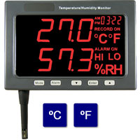 (HTM-185/HTM-185D) Large LED Temperature/Humidity Monitor (with Data Logging Option)